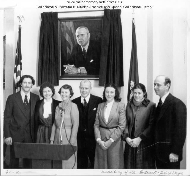 Unveiling of Gov. James B. Longley portrait, Augusta, 1980