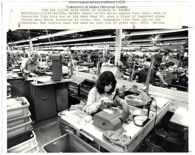 Bass Shoe Co. factory, Wilton, 1981