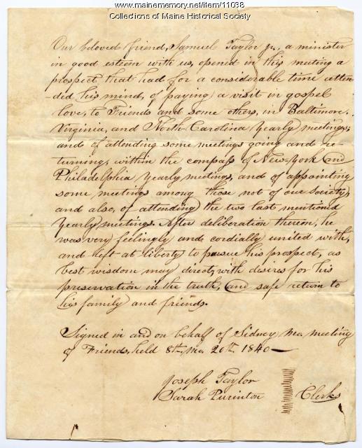Samuel Taylor certificate, 1840