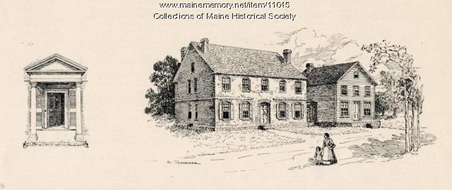 Drawing of house and door, Wadsworth-Longfellow House, Portland