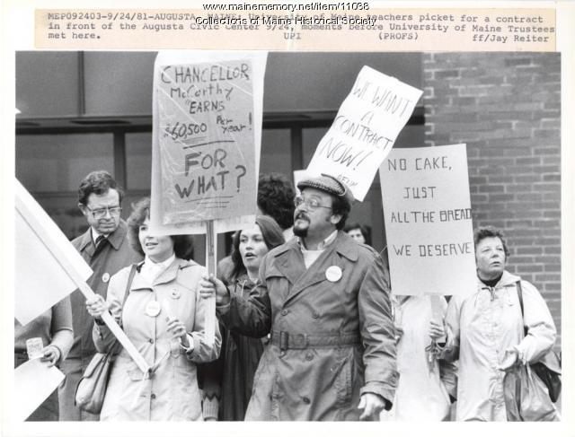 Faculty picket, Augusta, 1981