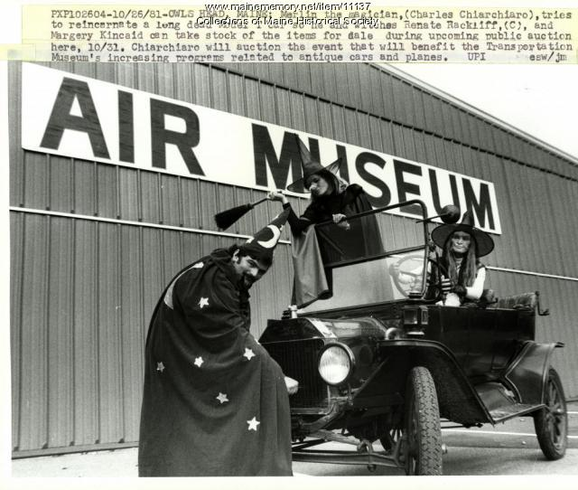 Casting spell on car, Owls Head, 1981