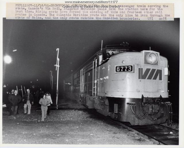 Last train, Brownville Junction, 1981