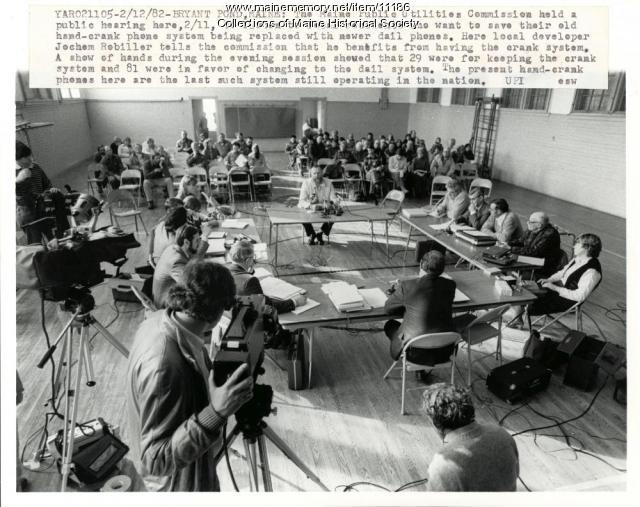 Hand-crank phone hearing, Bryant Pond, 1982