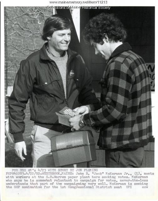 Candidate John R. McKernan Jr., Westbrook, 1982