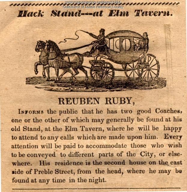 Reuben Ruby hack ad, Portland, 1834