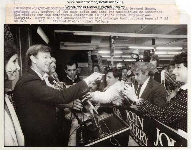 Primary winner John Kerry, Biddeford, 1982