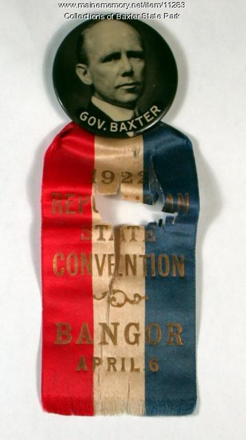 Gov. Baxter political ribbon, 1922