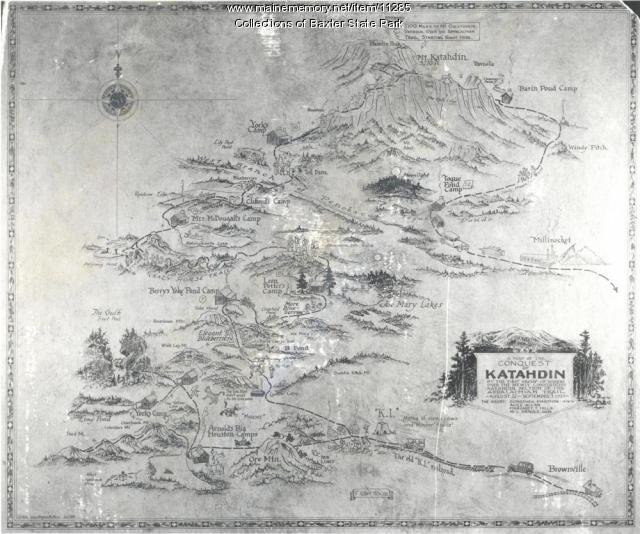 Map of the Conquest of Katahdin - Maine Memory Network