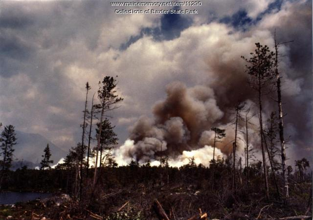 Smoke from fire, Baxter State Park, 1977