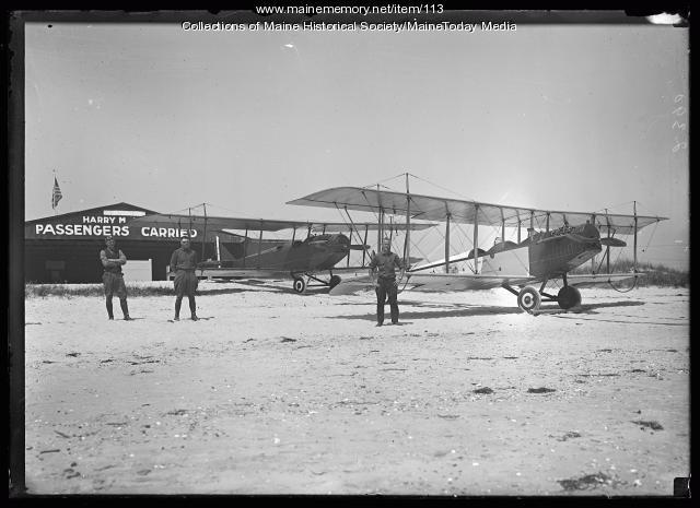 Biplanes at Harry M. Jones Hangar, ca. 1920