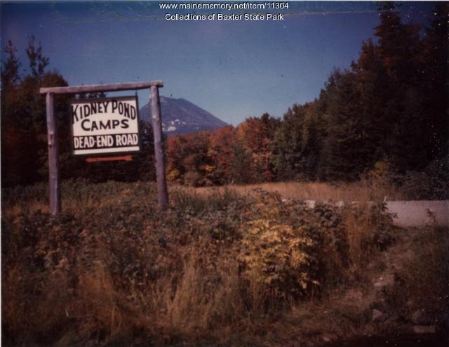 Kidney Pond Camps sign, Baxter State Park, ca. 1960