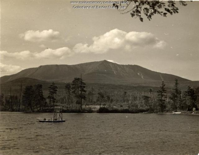 Swimming float, Togue Pond, Baxter State Park, ca. 1930