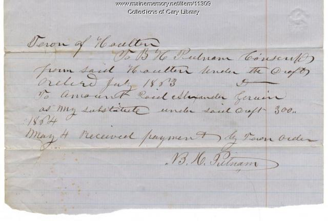 Putnam payment for conscription substitute, Houlton, 1864