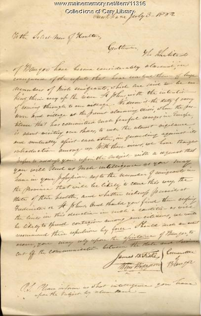 Letter from Committee of Bangor, 1832