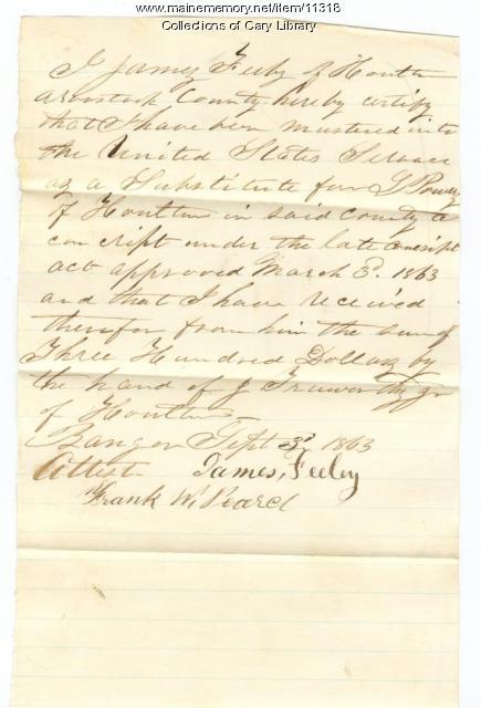 Feeley substitute for conscription, Bangor, 1863