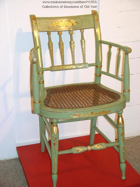 Thumb back fancy painted arm chair, Portland, ca. 1830