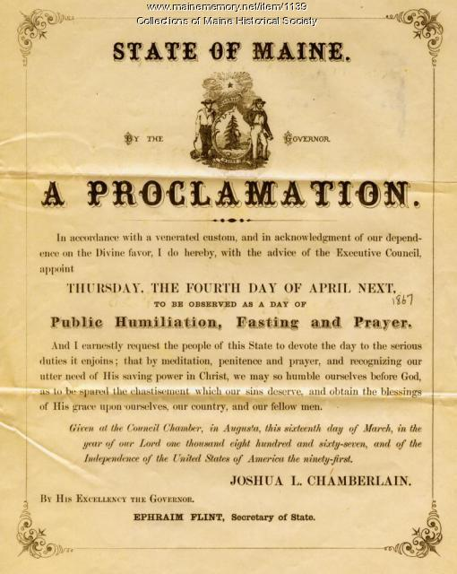 Chamberlain holiday proclamation, 1870