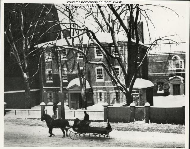 Wadsworth-Longfellow House in winter, ca. 1920