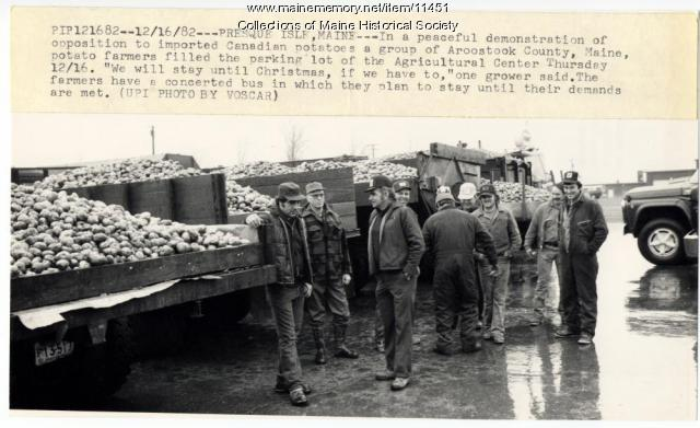 Potato import protest, Presque Isle, 1982