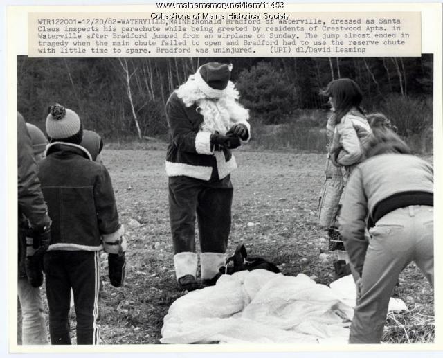 Santa parachutes in, Waterville, 1982