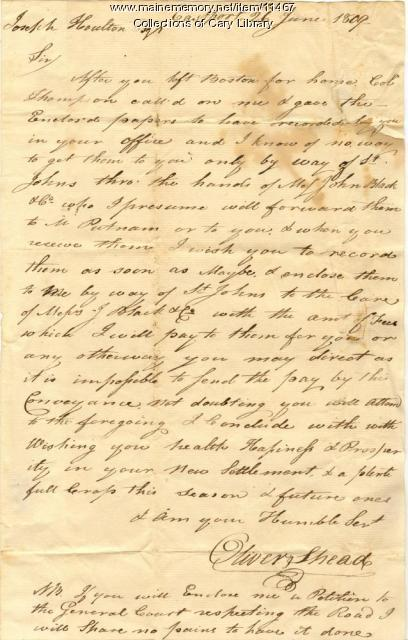 Letter to Joseph Houlton - June 26, 1809