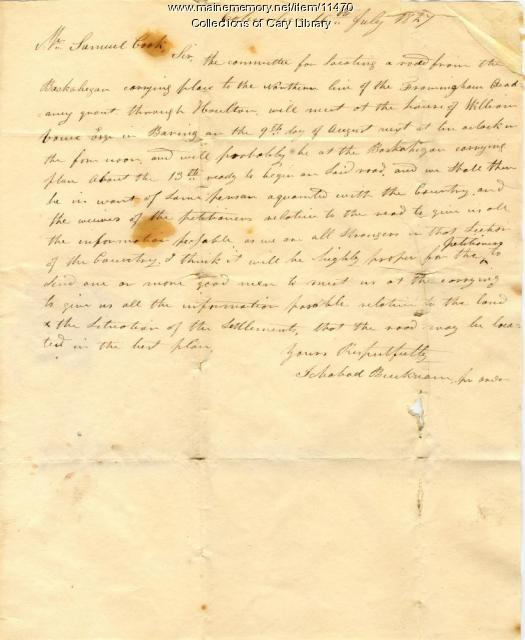 Ichabod Bucknam to Samuel Cook regarding road building, 1827