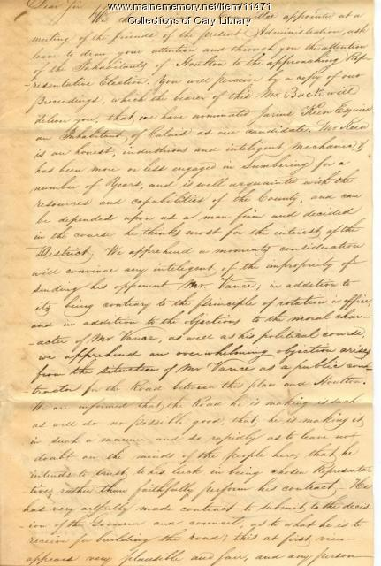 Letter to Samuel Cook about an upcoming election, Aug. 30, 1828