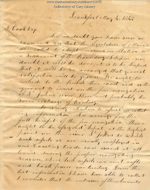 Samuel Cook letter on U.S.-Canadian border, 1842