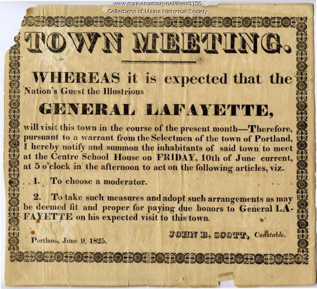 Town meeting notice, Portland, 1825