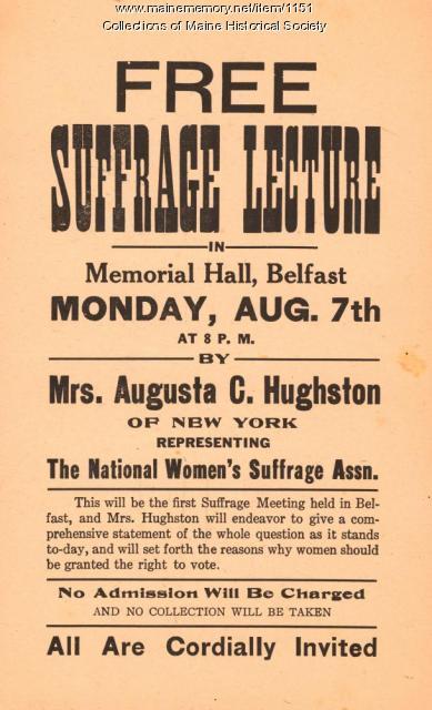 Suffrage lecture announcement, Belfast, ca. 1915