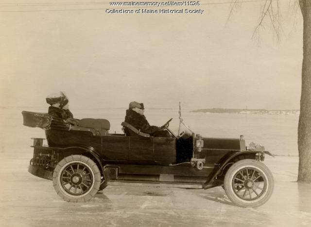 Knox Automobile on Casco Bay, ca. 1909