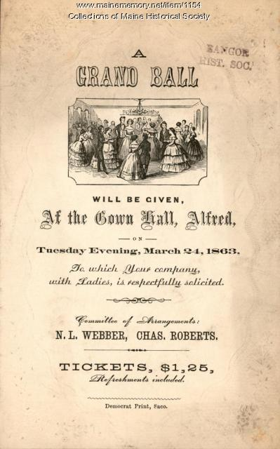 Ball announcement, Alfred, 1863