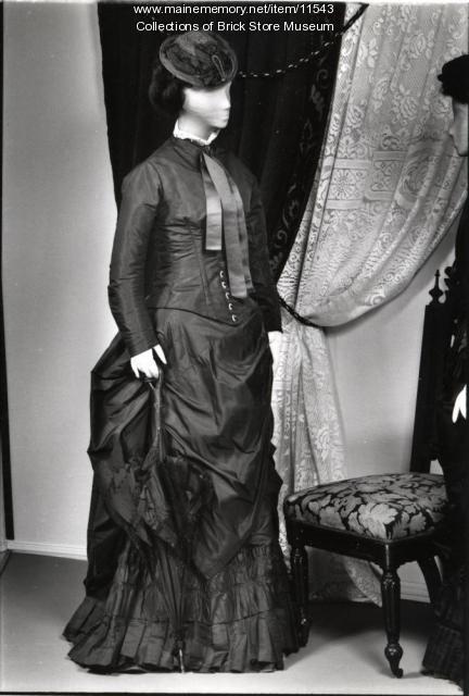 Blue silk dress, ca. 1870