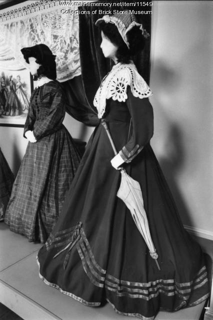 Two dresses, one worn by Mary B. Hunt, c. 1865