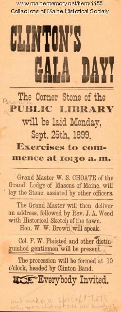 Library cornerstone announcement, Clinton, 1899