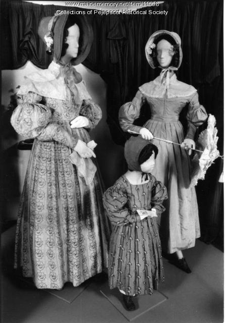 Three dresses, child's dress from the 1840s