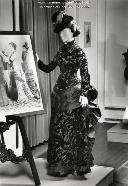 Two piece brown satin dress, 1882