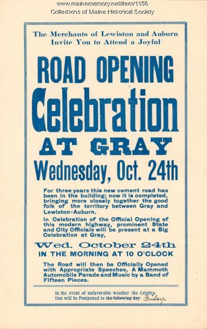 Road opening celebration announcement, Gray, 1923