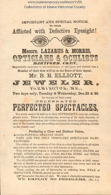 Advertisement for spectacles, Farmington, ca. 1860