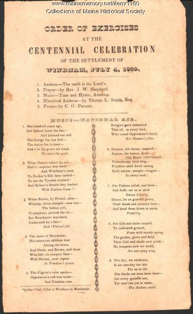 Program, Windham settlement centennial, 1839