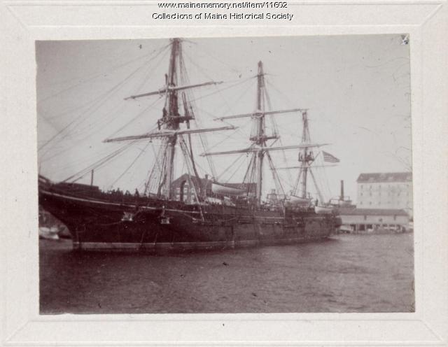 Three-masted ship, Kittery Navy Yard, ca. 1900