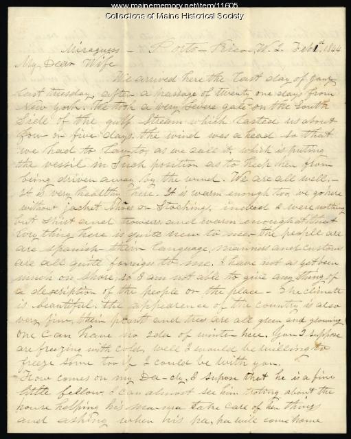 John Davison letter from Puerto Rico, 1844