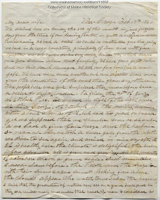 John Davison letter from Veracruz, Mexico, February 17, 1846
