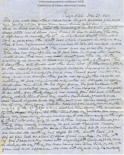 John Davison letter from Key West, Florida, December 29, 1846