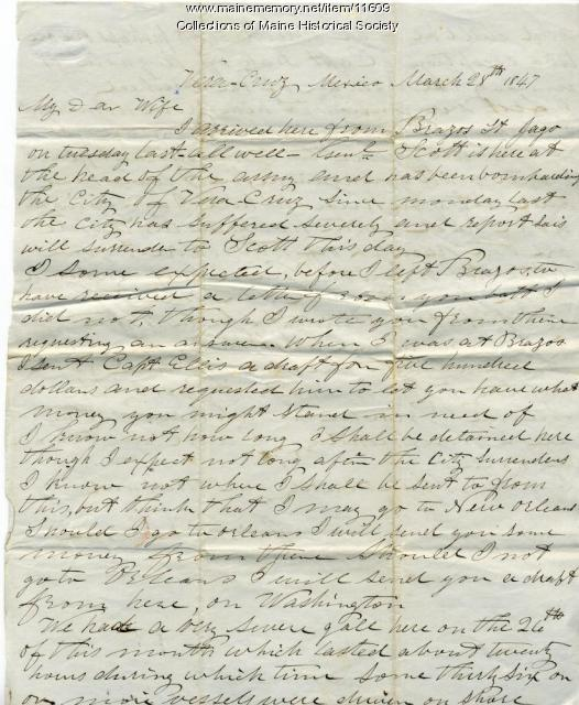 John Davison to wife from Veracruz, Mexico, March 28, 1847