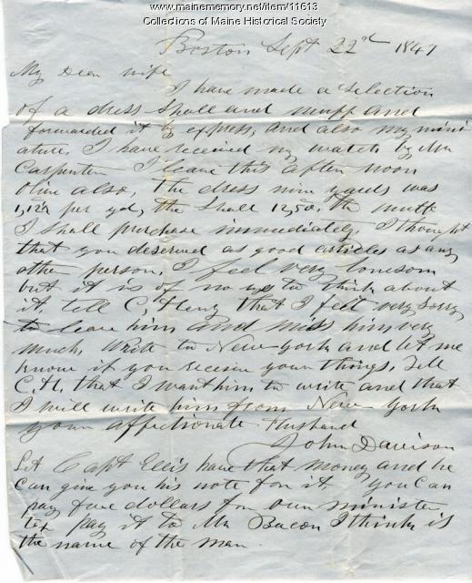 John Davison letter from Boston, September 22, 1847