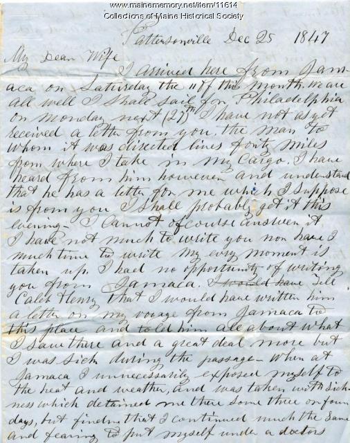John Davison letter from Pattersonville, December 25, 1847