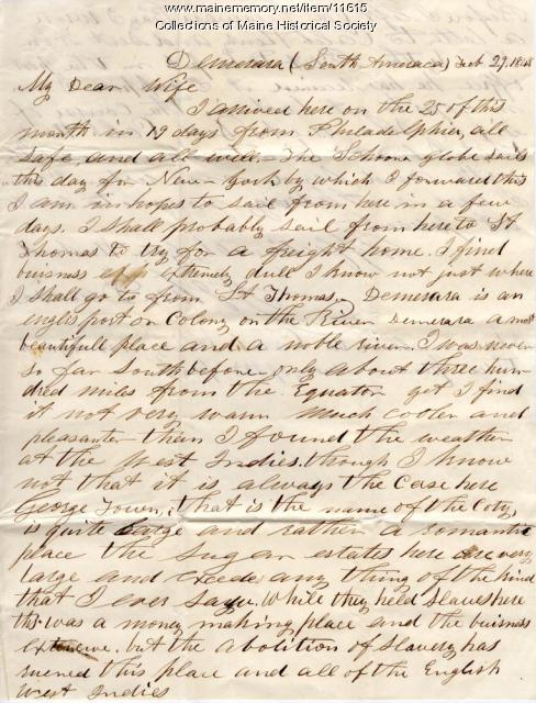 John Davison letter from Demarara, Guyana, 1848