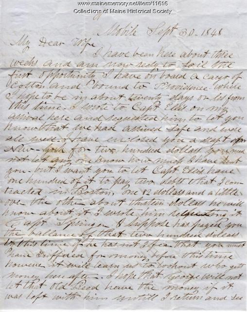 John Davison letter from Mobile, Alabama, 1848
